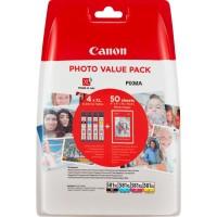 "Canon CLI-581 XL C/M/Y/BK Multi Pack + 50 sheets 4x6"" Photo Paper (PP-201)"